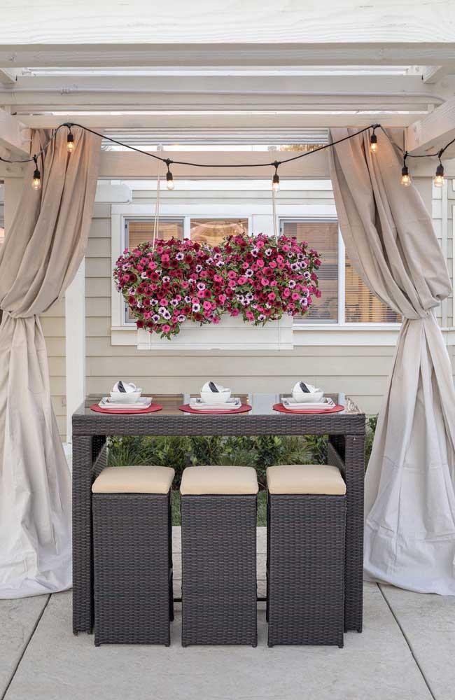 Aqui, as petúnias em tons de rosa, vermelho e lilás formam um lindo cenário atrás da bancada de refeições
