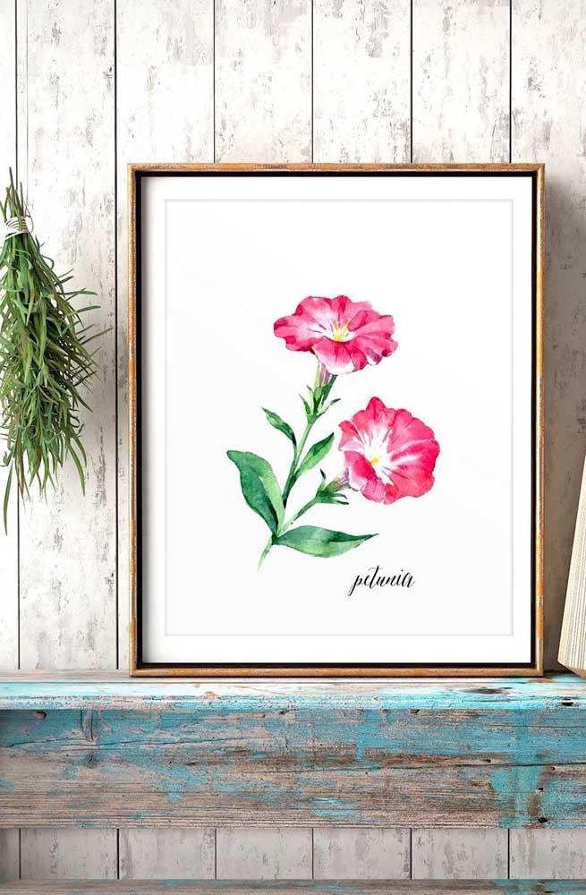 Os apaixonados por botânica podem aproveitar para pendurar um quadro de petúnia na parede