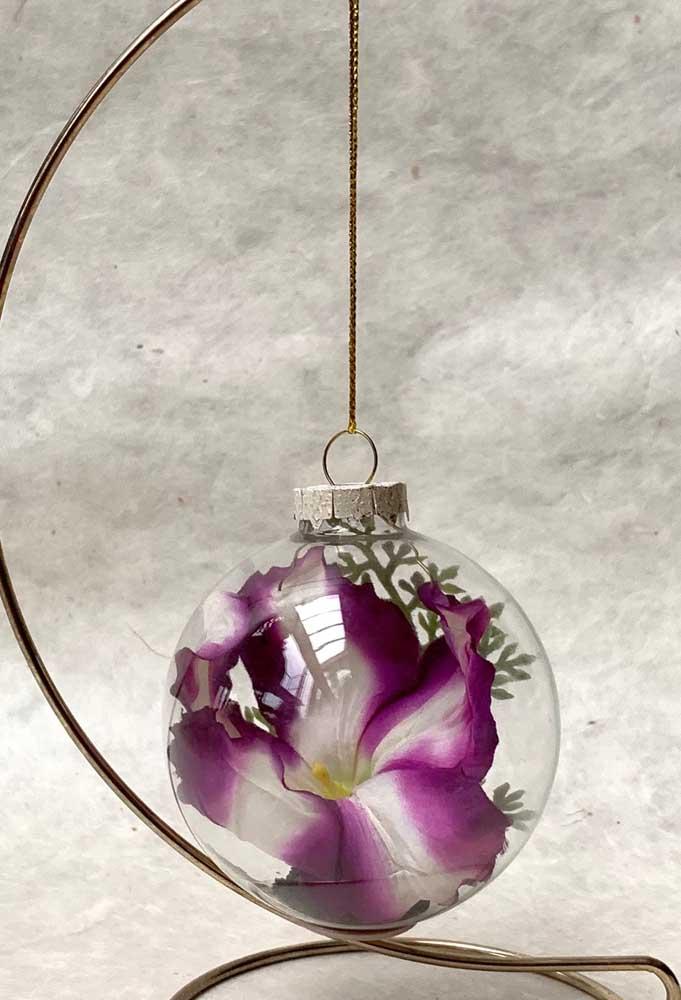 Petúnias dentro da bolinha de natal; essa é outra forma bem diferente e criativa de inserir a flor na decoração da casa