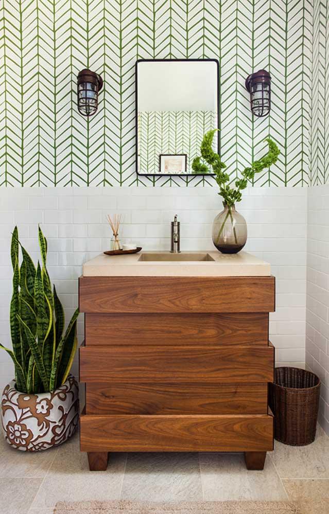 Lança de São Jorge na decoração do lavabo garantindo aquele toque verde todo especial e que faz toda a diferença na decoração da casa