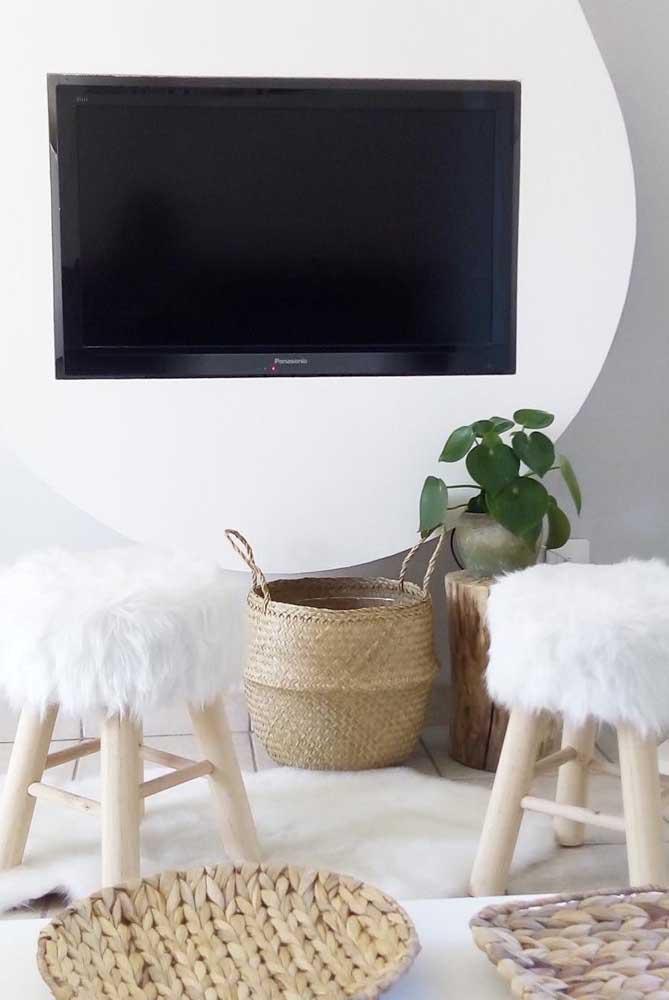 Um toque verde para a sala de estar clean