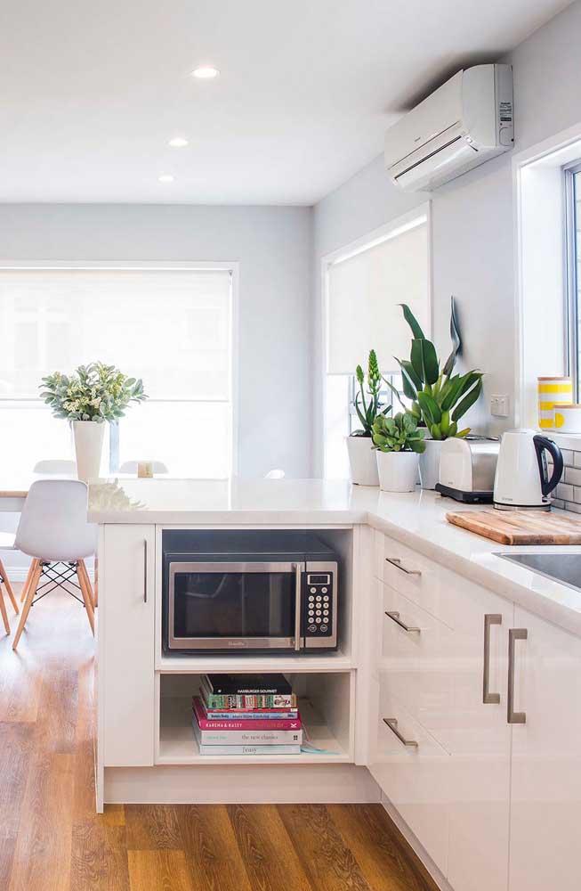 A cozinha clean e bem iluminada conta com a Pacová e outras espécies sobre o balcão