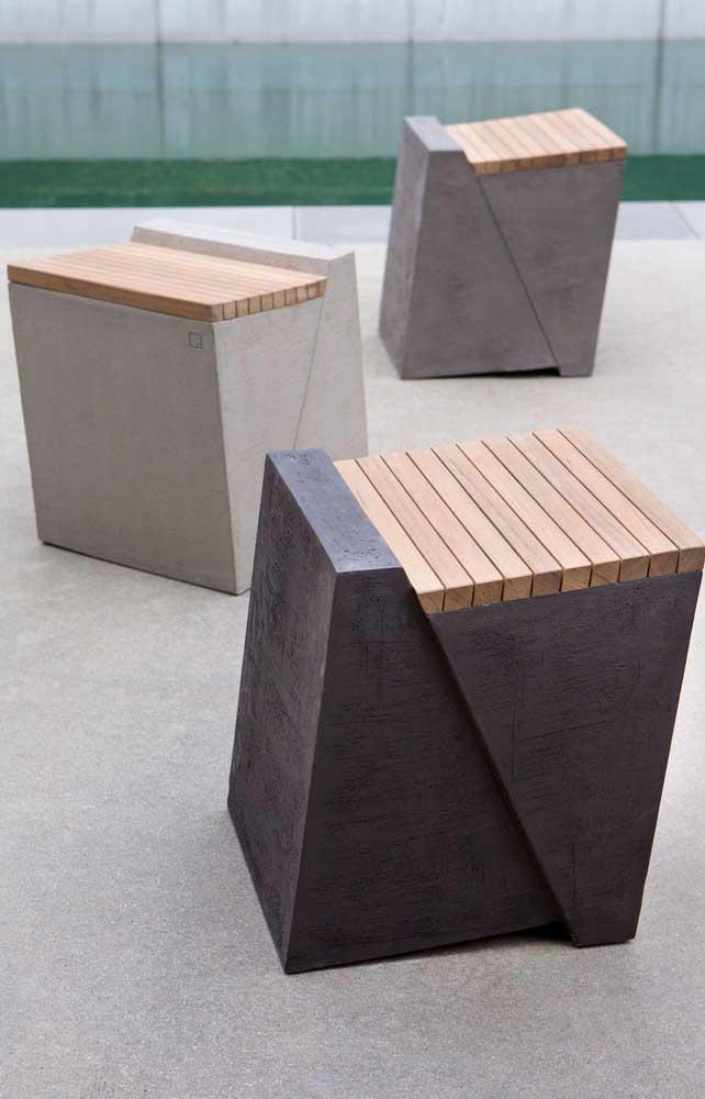 E para quem curte unir tendência com design original, esses banquinhos de concreto são uma inspiração