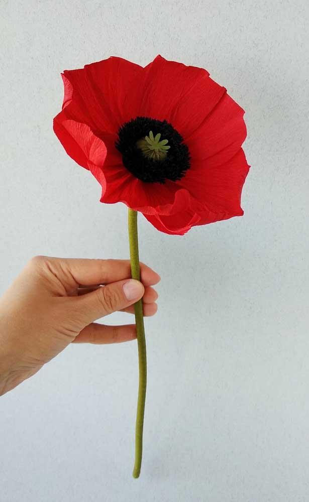 Linda opção de flor de papel crepom vermelha; experimente presentear alguém como um modelo desses