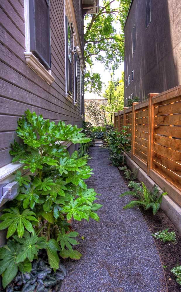Cerca de madeira baixa para separar uma casa da outra; repare que as bases possuem espessura mais grossa para suportar as ripas