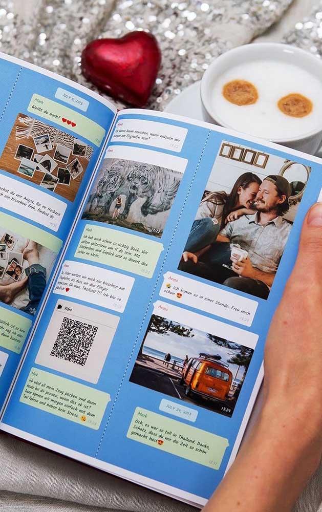 Scrapbook com mensagens trocadas no Whatsapp: outra ótima ideia para presentear