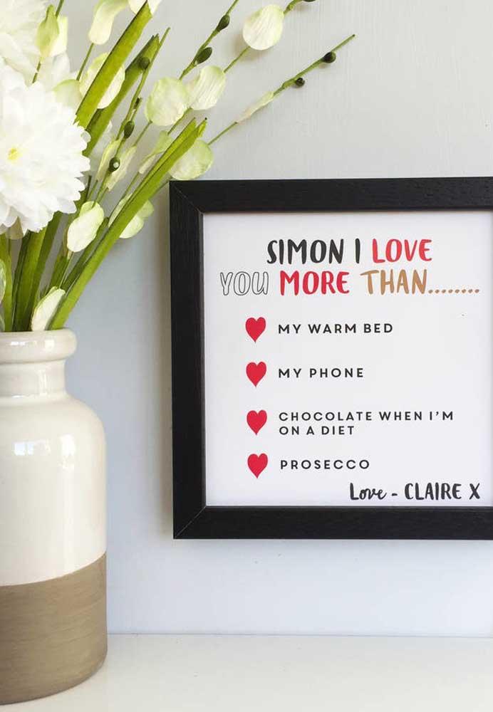 O que acha de fazer um quadro com algumas declarações de amor?