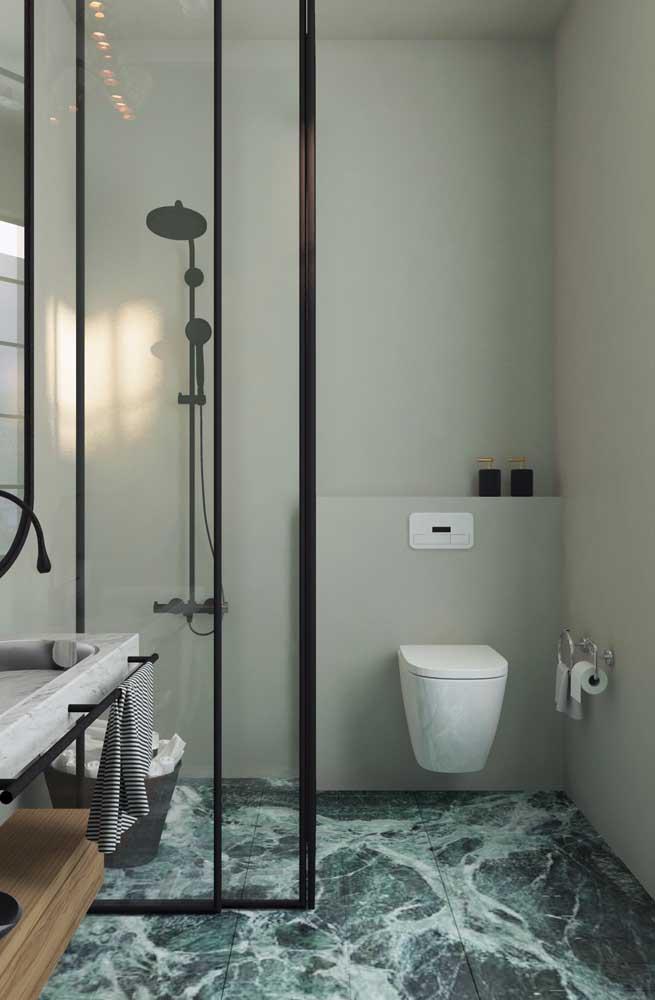 Outra boa ideia de piso 3D marmorizado, só que dessa vez para ser usado no banheiro