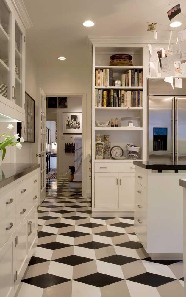 Piso 3D xadrez para a cozinha; esse tipo de piso é perfeito para fazer a integração dos ambientes, uma vez que não possui rejuntes ou marcas aparentes