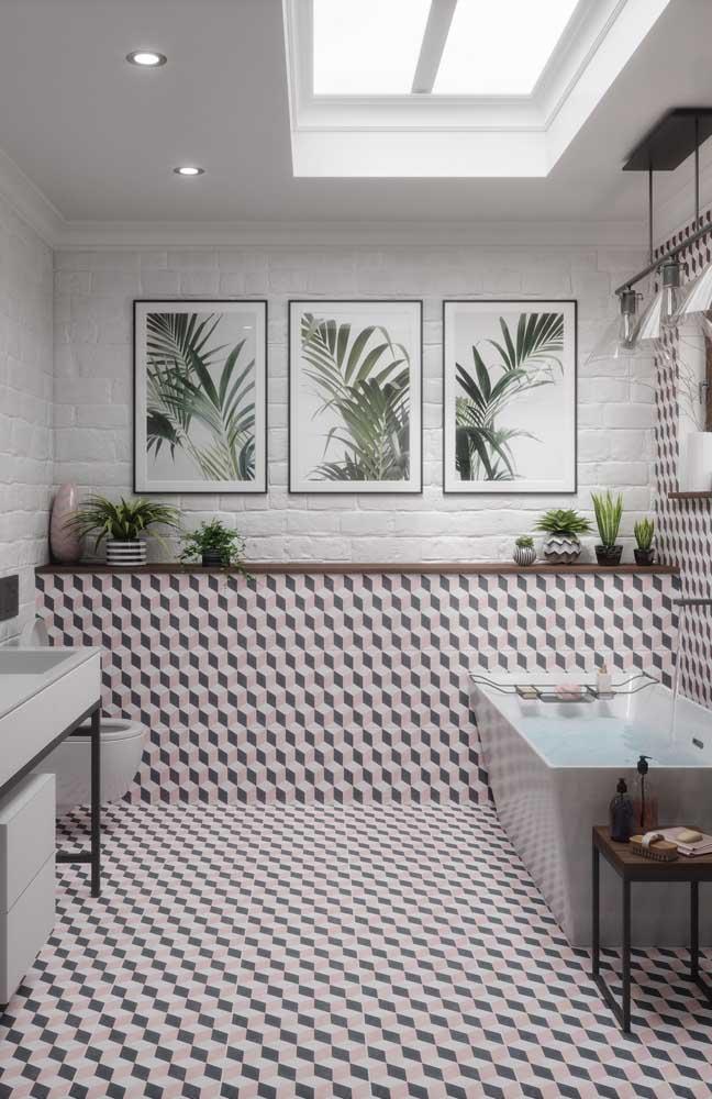 Esse banheiro conseguiu unir piso 3D com decoração clean e suave, linda inspiração!