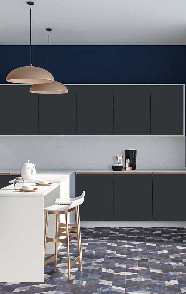 Cozinha moderna com piso 3D simples casando com todos os detalhes da decor