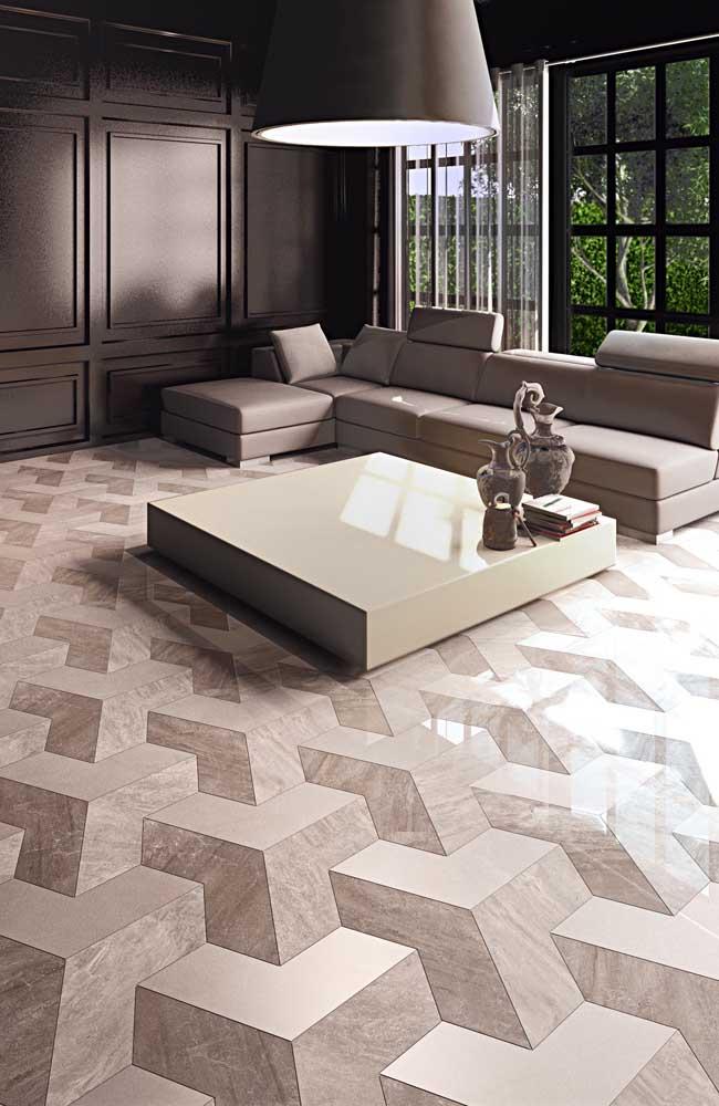 Essa sala de estar clássica e elegante apostou no uso de um piso 3D com efeito amadeirado em tons de bege e marrom