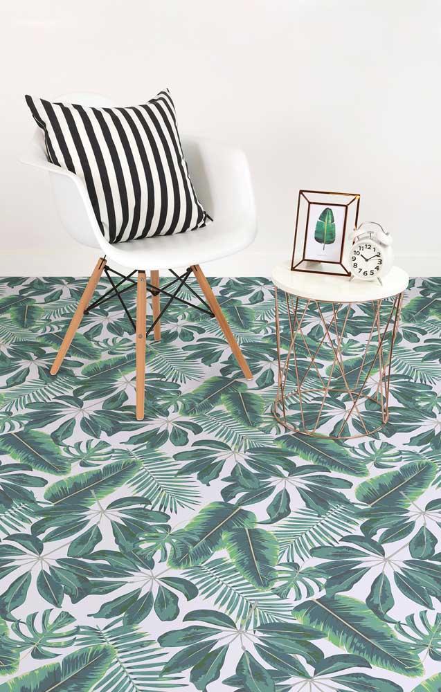 Um chão de folhas verdinhas feito de piso 3D
