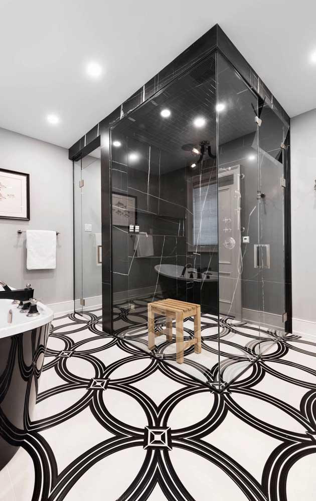 Piso 3D branco e preto para combinar com a decor que segue a mesma paleta