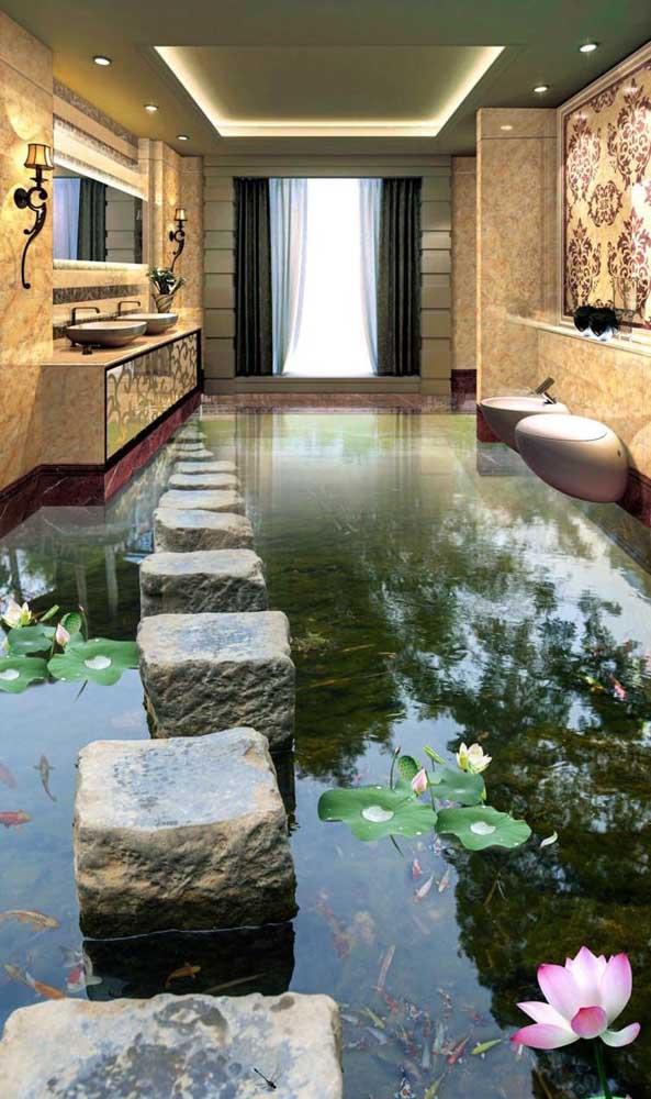 É surreal o efeito desse piso 3D no banheiro! O realismo da imagem é de impressionar até os mais céticos