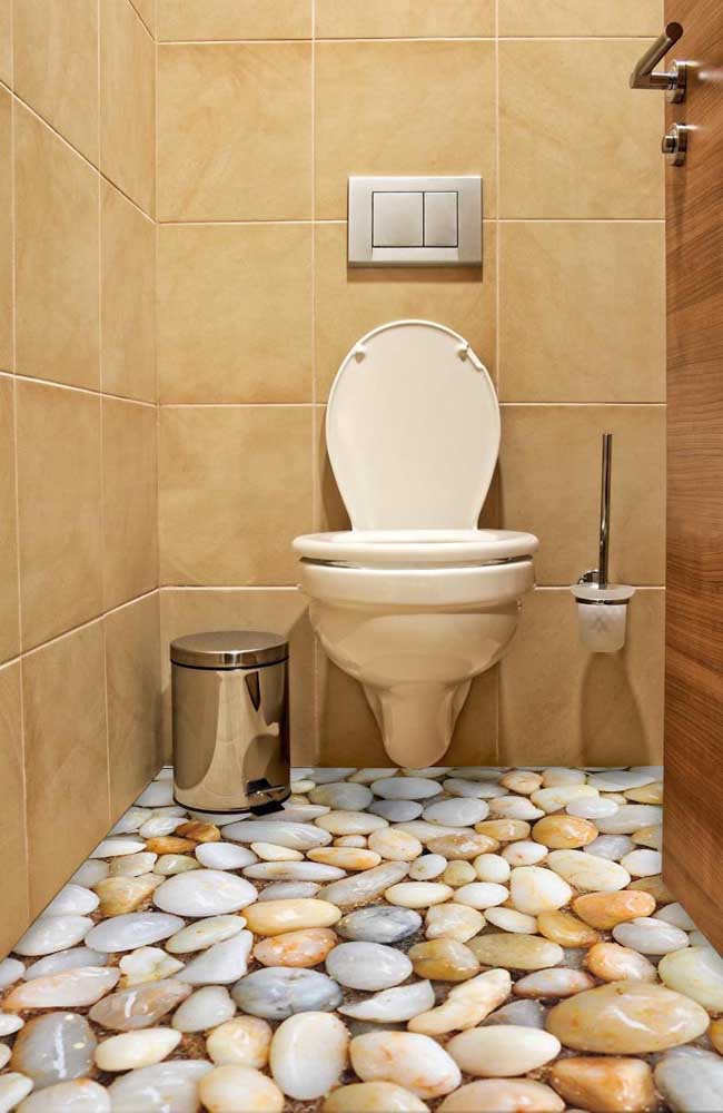 Nesse outro lavabo, o realismo do piso 3D também chama a atenção, mas de um modo mais suave e menos intenso