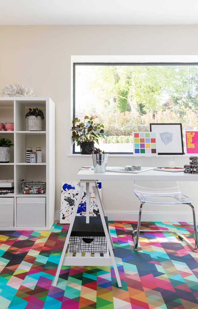 Muitas cores para o piso 3D do escritório