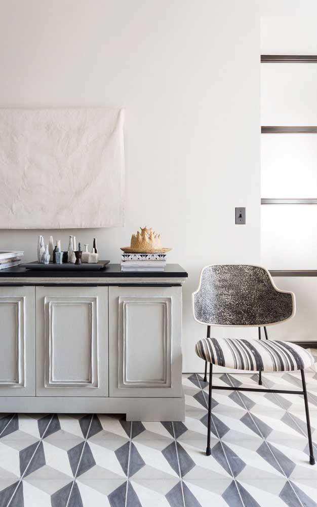 Que opção linda, suave e delicada de piso 3D; perfeito para essa cozinha que mescla o clássico com o contemporâneo