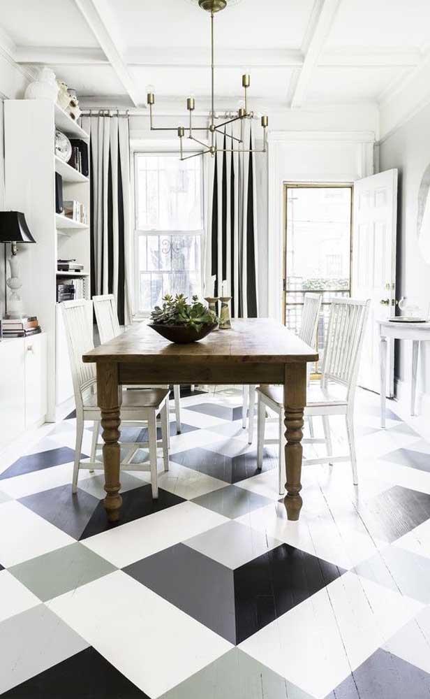 O bom e velho xadrez que nunca sai de moda pode ser experimentado na versão piso 3D