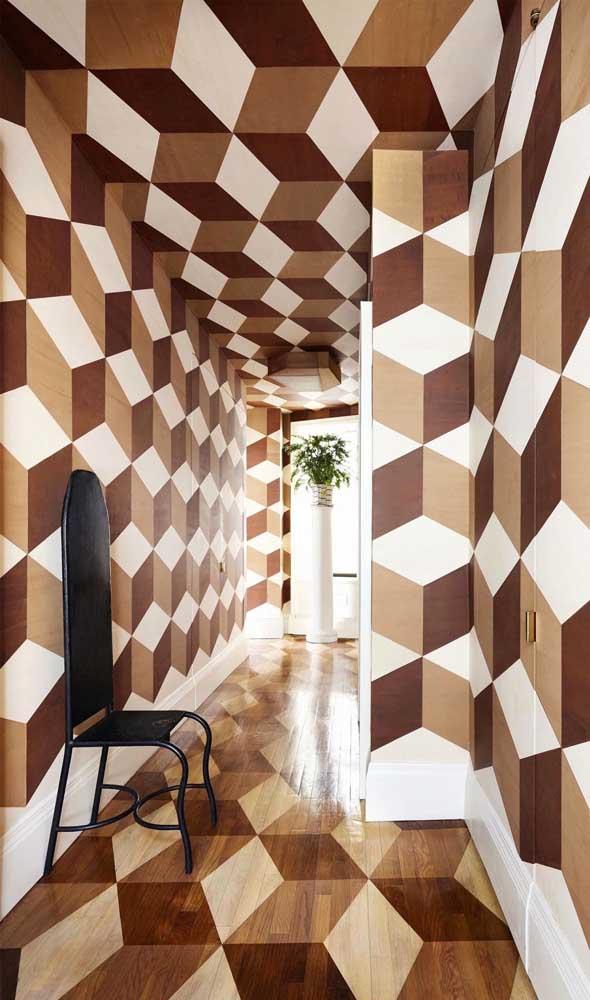 Piso 3D no chão, na parede e no teto, uma proposta conceitual cheia de ousadia