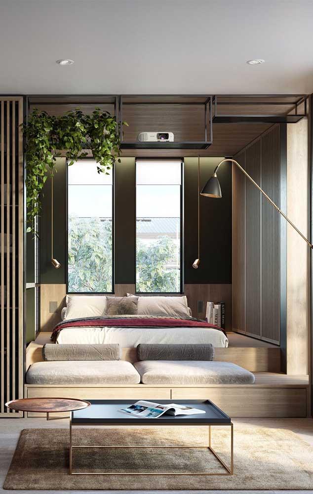 Quer um quarto bem decorado e ao mesmo tempo aconchegante? Então invista em elementos de madeira