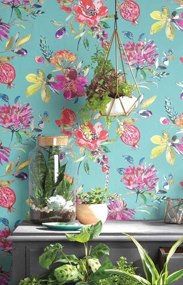 Olha essa opção de papel de parede com fundo azul; vibrante e cheio de vida