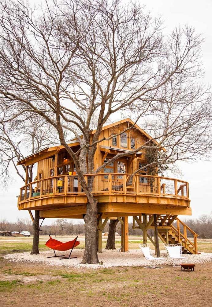 Repare nesse modelo de casa na árvore que mais parece uma casa luxuosa na praia.