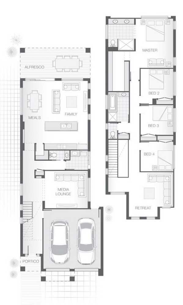 Modelo de planta de casa com dois pavimentos e com quatro quartos, garagem interna e suíte master