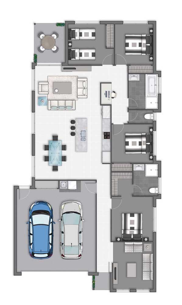 Planta de casa térrea com garagem interna e quatro quartos, além da cozinha integrada com a sala e a cozinha com ilha
