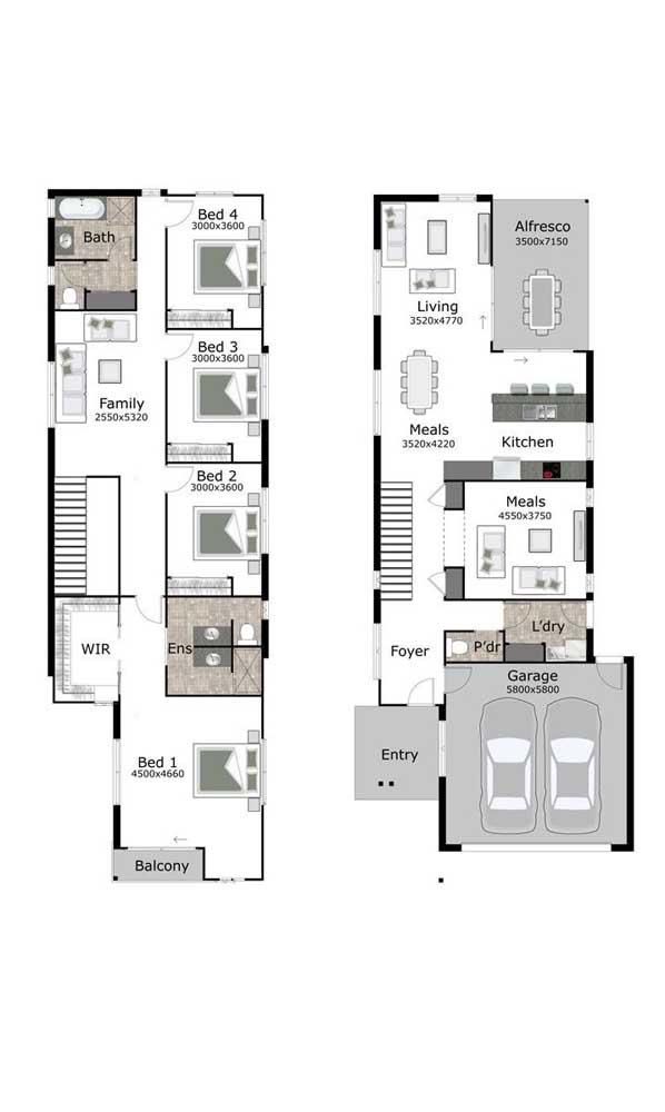 Planta com dois pavimentos, quatro quartos, garagem e varanda
