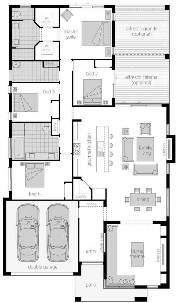Nessa planta, os quatro quartos foram colocados próximos, com acesso facilitado aos ambientes integrados e a cozinha americana
