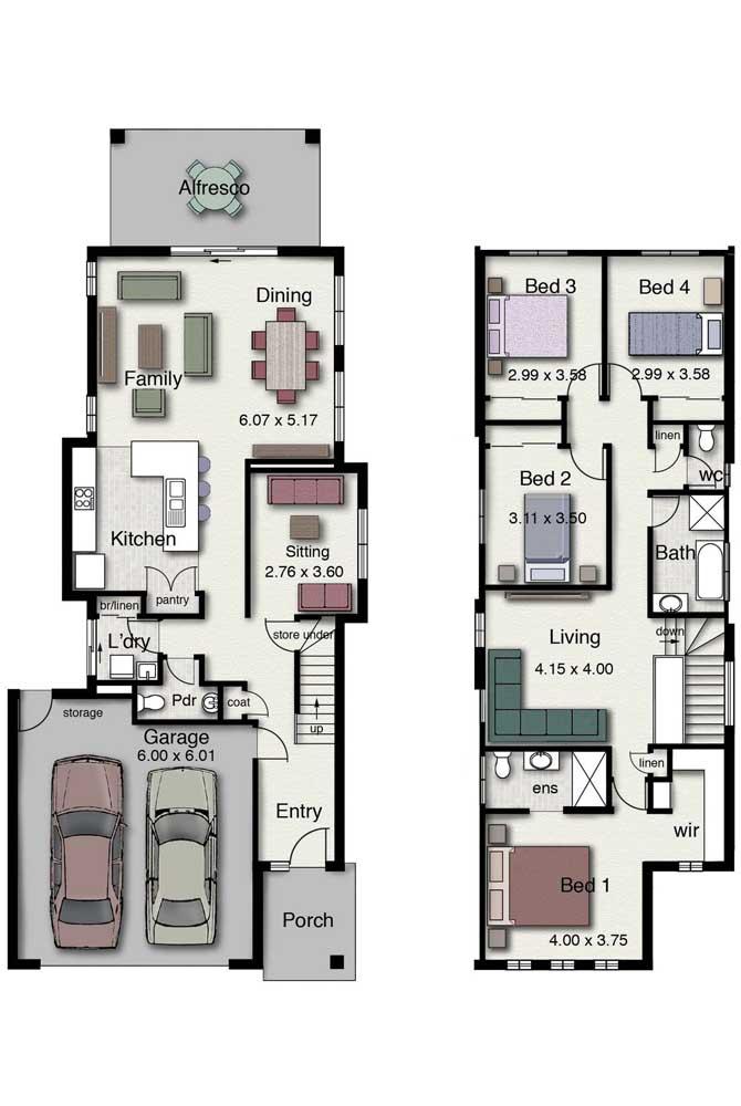 Planta para casa com dois andares, garagem e quatro quartos com living exclusivo para o andar superior