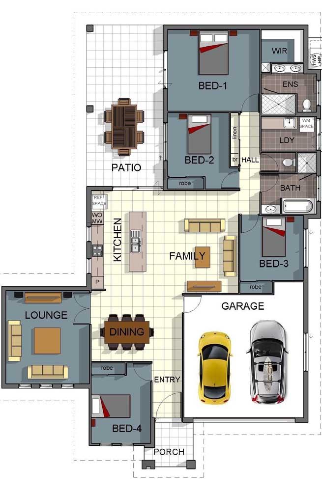 A planta desta casa inclui uma garagem interna e cozinha integrada com ilha, além dos quatro quartos e lounge