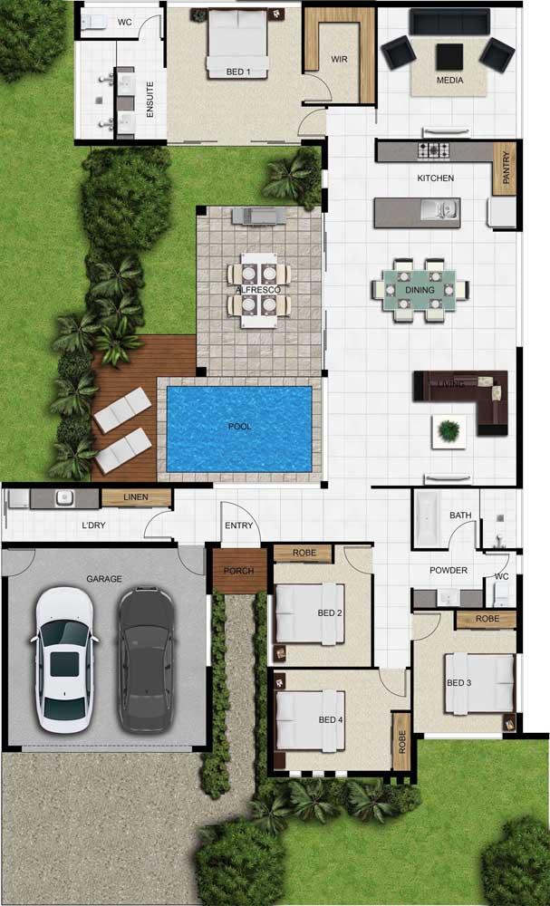 Planta de casa com quatro quartos e piscina, garagem e cozinha integrada com sala de jantar e de estar