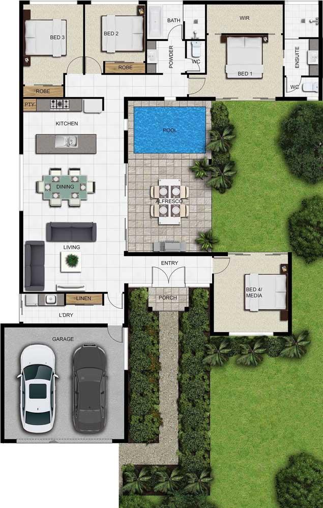 Inspiração de planta de casa com quatro quartos - sendo uma suíte máster - piscina e ambientes integrados em conceito aberto