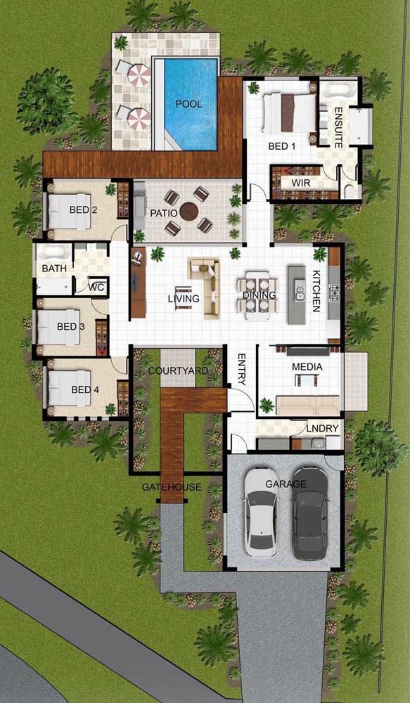 Planta de imóvel com piscina, quatro quartos, garagem interna e cozinha integrada com sala de estar e jantar