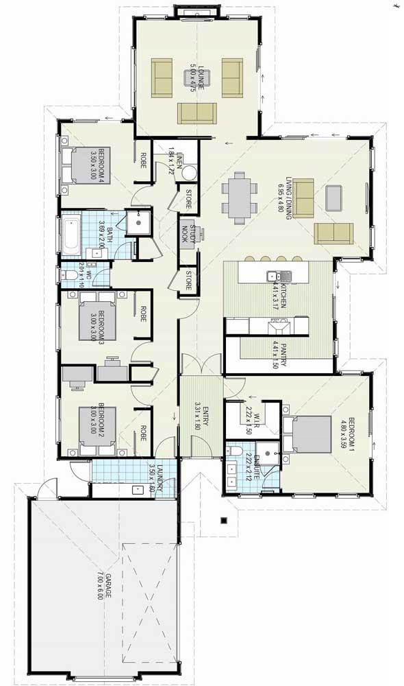O terreno extenso ganhou a planta de uma casa térrea com quatro quartos, suíte máster, garagem e sala integrada com cozinha americana