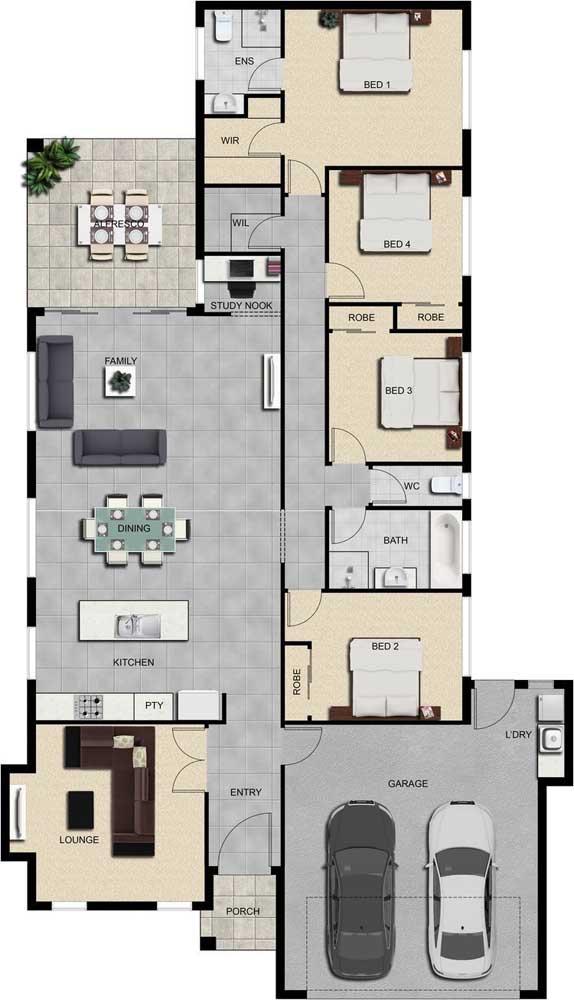 Nessa inspiração de planta de imóvel térreo, os quatro quartos - sendo uma suíte - foram alinhados no mesmo corredor; destaque ainda para os ambientes integrados
