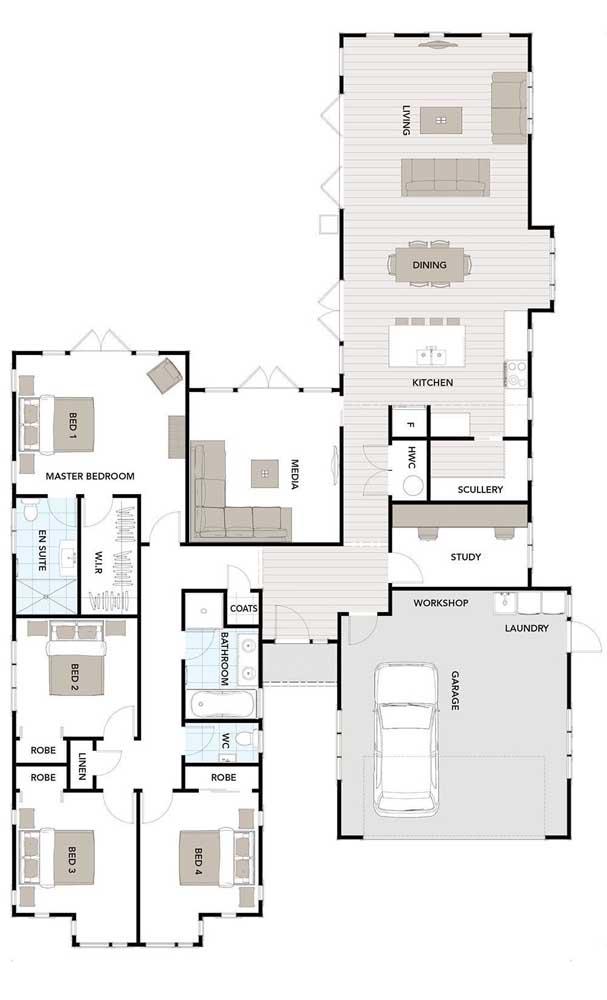 Planta de casa térrea com ambientes integrados e quatro quartos, sendo uma suíte máster