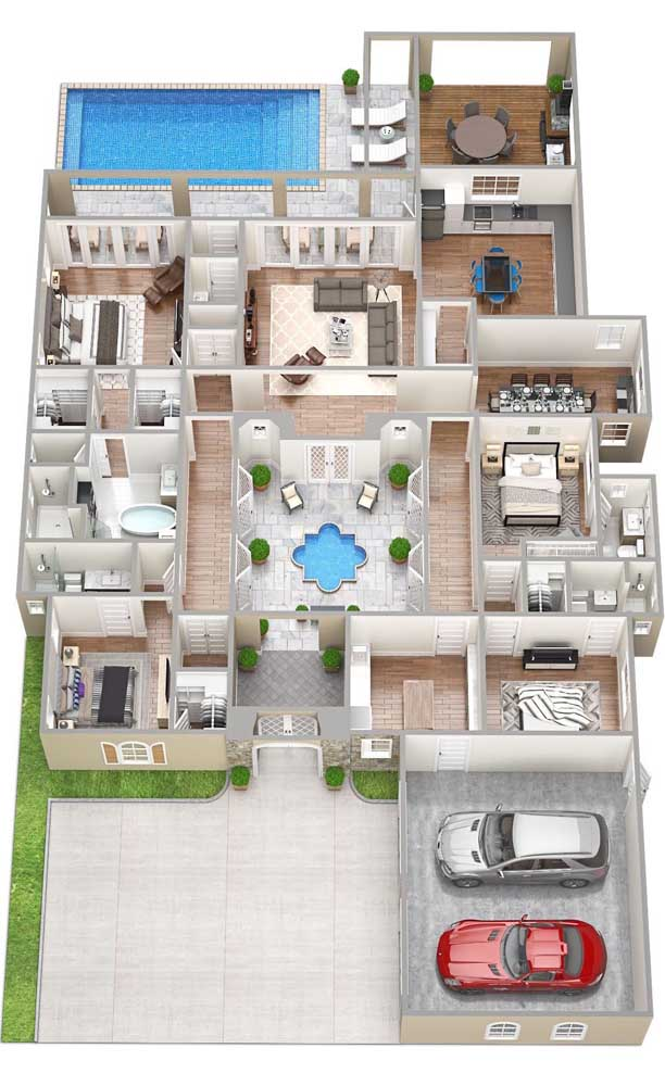 A planta em 3D mostra em detalhes a organização dos quatro quartos da casa, o hall aberto com fonte, a piscina e a garagem interna