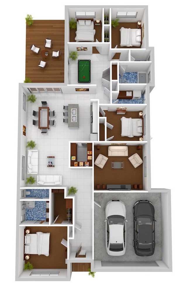 Planta de casa térrea com quatro quartos, garagem, varanda e cozinha com ilha integrada