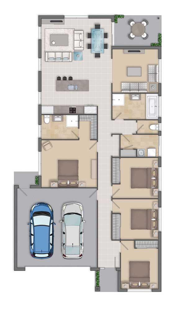 Planta de casa simples com garagem, quatro quartos e sala de estar integrada