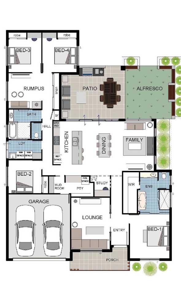 Inspiração de planta de casa térrea com quatro quartos, cozinha, salas integradas, pátio aberto e lounge