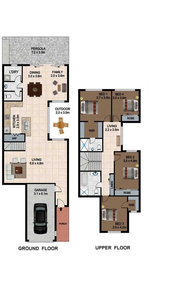 Essa planta para imóvel de dois andares ganhou quatro quartos compactos no andar superior e sala de estar integrada no primeiro pavimento