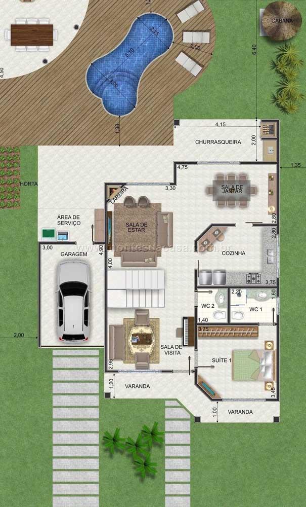 Primeiro pavimento de uma planta de casa com piscina, garagem e sala de estar integrada a sala de jantar, além da suíte