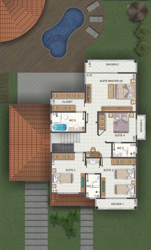 No pavimento superior, a planta ganhou os quatro quartos e suíte máster, com closet e banheira