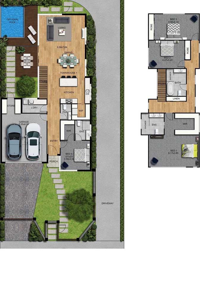 Planta de dois andares com garagem, piscina, deck e quatro quartos, sendo um no andar inferior e os outros três no superior