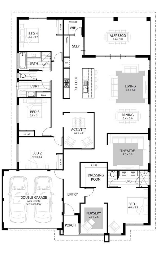 Modelo de planta de imóvel com garagem interna, cômodos integrados e quatro quartos