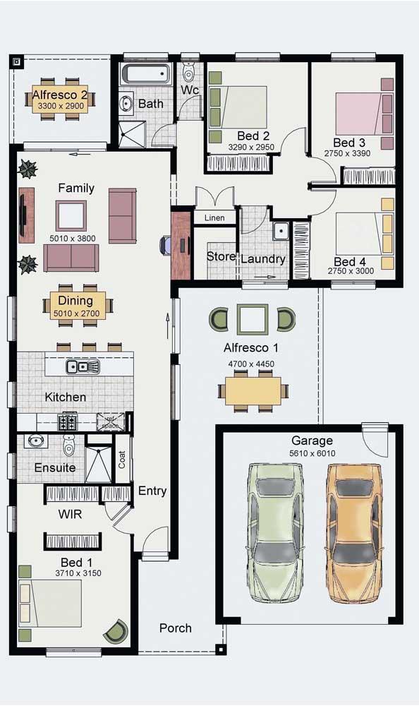 Inspiração de planta térrea com garagem, cômodos integrados, cozinha americana e quatro quartos