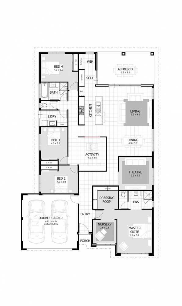 A casa contou com uma planta planejada com garagem e quatro quartos, sendo uma suíte máster